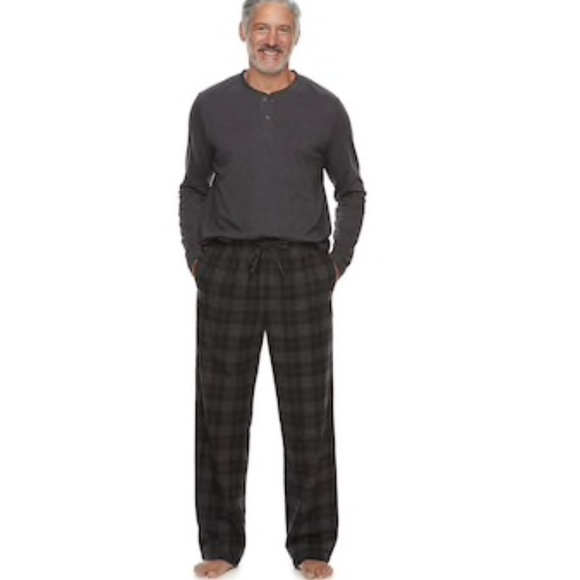 NWT Men/'s Croft /& Barrow Sleep henley /& Plaid Flannel Pants Pajama Lounge Set